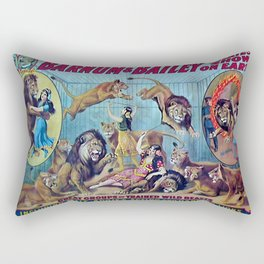 1910 Barnum & Bailey Circus Dancing Lions - M'lle Adgi's Acting Vintage Poster Rectangular Pillow