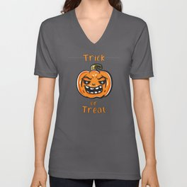 Trick Or Treat Pumpkin Face Scary Unisex V-Neck