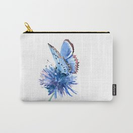 Blue Butterfly and Blue Flower, marine blue minimalist floral butterfly design Carry-All Pouch