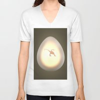 egg V-neck T-shirts featuring Egg by Benjamin Ring