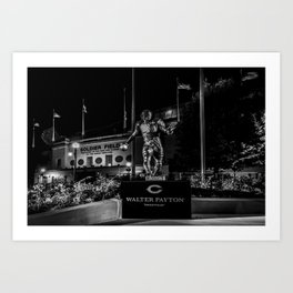 Walter Payton Statute at night Art Print