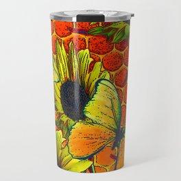 ORANGE-YELLOW BUTTERFLIES & SUNFLOWERS ARTISTIC HONEYCOMB DRAWING Travel Mug