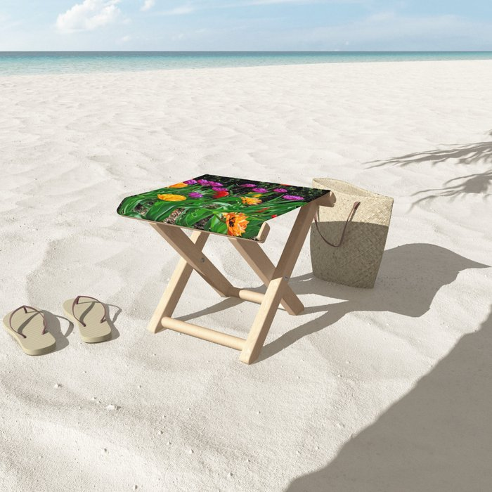Spring Kaleidoscope Folding Stool