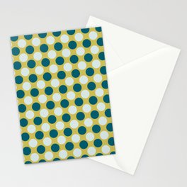 Pale Blue and Tropical Dark Teal Uniform Large Polka Dots on Dark Yellow Inspired by Sherwin Williams 2020 Trending Color Oceanside SW6496 Stationery Cards