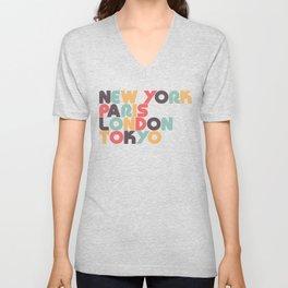 New York Paris London Tokyo Typography - Retro Rainbow Unisex V-Neck