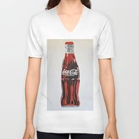 coca cola V-neck T-shirts featuring Coca-Cola by Marta Barguno Krieg