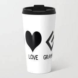 Peace, Love, and Grammar Travel Mug