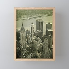 An old day in New York city. Skyline View of Financial District Framed Mini Art Print