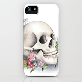 Skull Still Life With Wild Flowers iPhone Case
