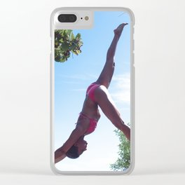 WOMAN - YOGA - POSE - BATHING - SUITE Clear iPhone Case