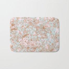 Mint Blush & Rose Gold Metallic Marble Texture Bath Mat