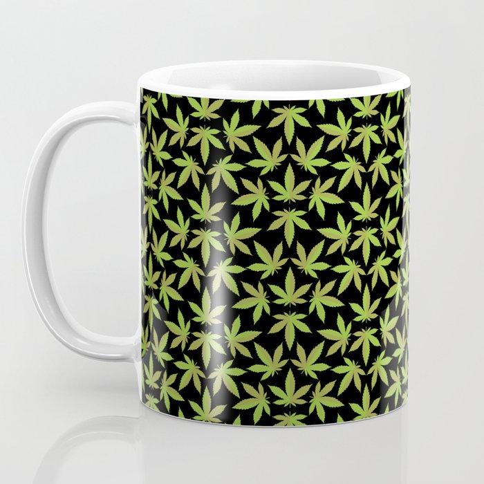 Cannabis Pattern Black Background Coffee Mug