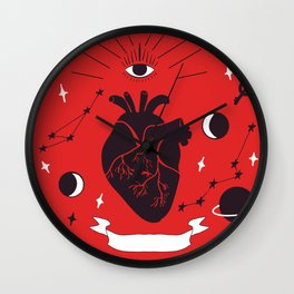 all-seeing eye and heart, galaxies and key Wall Clock