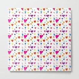 Imperfect Hearts Pattern - Original/White Metal Print