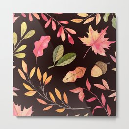 Hand painted pastel pink green brown watercolor leaves Metal Print