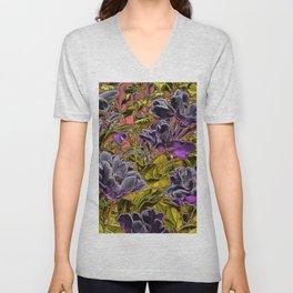 Great Flowers in purple Unisex V-Neck