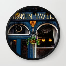 Museum Tavern - London Architecture - Bistro Cafe Facade in Blue Wall Clock