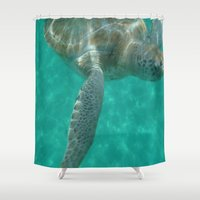 sea turtle Shower Curtains featuring turtle by NatalieBoBatalie