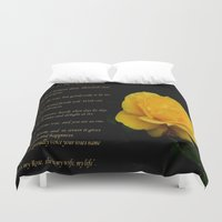 verse Duvet Covers featuring Yellow Rose Greeting Card With Verse - Pluck Not the Rose by taiche