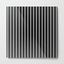 Black and White English Rose Trellis on Mattress Ticking Stripe Metal Print