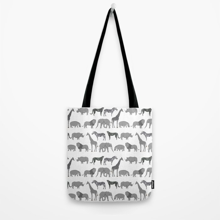 Safari animals minimal grey and white zebra giraffe cheetah hippo rhino nursery Tote Bag