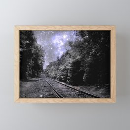 Train Tracks Next Stop Anywhere Periwinkle Gray Framed Mini Art Print
