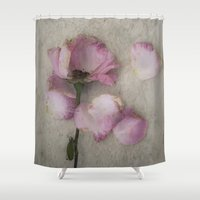 depression Shower Curtains featuring Wilted Rose by Maria Heyens