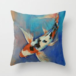 Sanke Butterfly Koi Throw Pillow