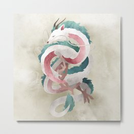 Spirited away - Haku Dragon illustration - Miyazaki, Studio Ghibli Metal Print