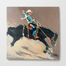 Riding the Bucking Bronco at the Rodeo  Metal Print