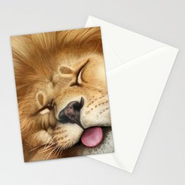 Sleeping Lion - closeup Stationery Cards