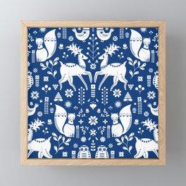 Whimsical Scandinavian Folk Art With Cute Forest Animals Framed Mini Art Print
