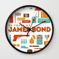 james bond Wall Clocks featuring James Bond 50 Years  by RLCNTRS
