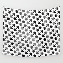 Dumbbellicious / Black and white dumbbell pattern Wall Tapestry