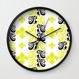 Fluer de Lis Custom Yellow Wall Clock