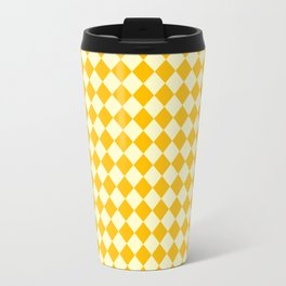 Cream Yellow and Amber Orange Diamonds Travel Mug