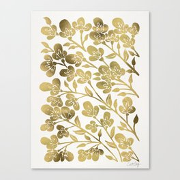 Cherry Blossoms – Gold Palette Canvas Print