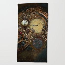 Steampunk Clocks Beach Towel