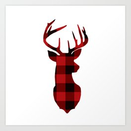Red Buffalo Plaid Deer Art Print