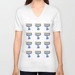 menorah 7,Hanukkah,jewish,jew,judaism,Festival of Lights,Dedication,jerusalem,lampstand,Temple, מְנו Unisex V-Neck