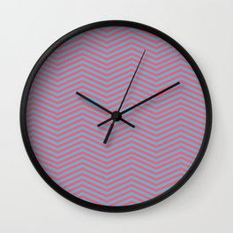 Modern pink blue geometric chevron pattern Wall Clock