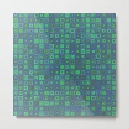 Green Abstract Square Pattern Big Metal Print