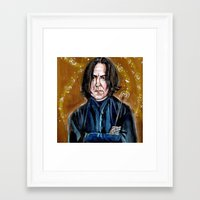 snape Framed Art Prints featuring Professor Snape by dawn schreiner