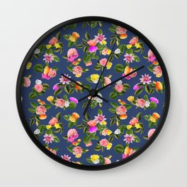 Frida Floral (Blue) Wall Clock