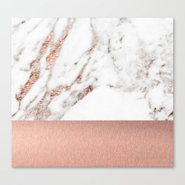 Rose gold marble and foil Canvas Print