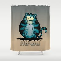 fat Shower Curtains featuring Fat Cat by mangulica illustrations