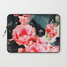 closeup blooming red cactus flower texture background Laptop Sleeve