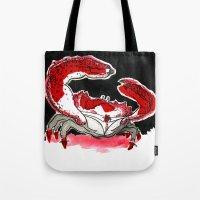 crab Tote Bags featuring Crab by Lieke Mulder