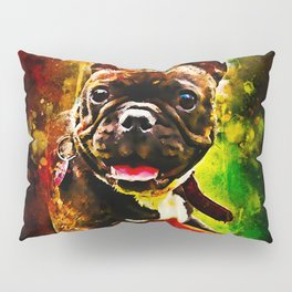 french bulldog basketball splatter watercolor Pillow Sham