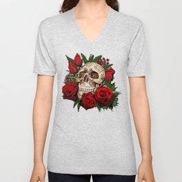 Red Rose Sugar skull Unisex V-Neck